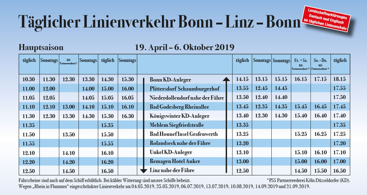 Fahrplan Hauptsaison PErsonenschifffahrt Siebengebirge Bonn